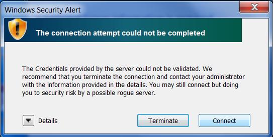 WiFi Certificate Prompt